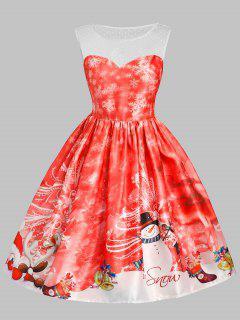 Christmas Snowman Snowflake Mesh Panel Dress - Red 2xl