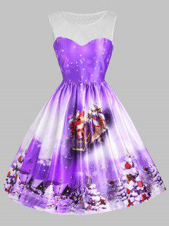Christmas Sled Tree Mesh Panel Dress - Purple Xs