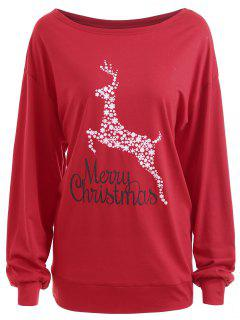 Plus Size Merry Christmas Floral Deer Graphic T-shirt - Red 2xl