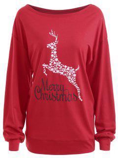 Camiseta Gráfica Con Estampado Floral De Gran Tamaño Para Navidad - Rojo 2xl