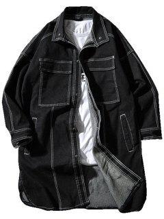 Snap Button Drop Shoulder Long Denim Coat - Black 2xl
