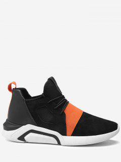 Colorblocked Elastic Band Breathable Athletic Shoes - Black And Orange 44
