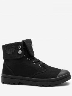 Round Toe Folded Canvas Ankle Boots - Black 44