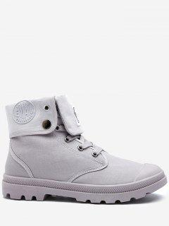 Round Toe Folded Canvas Ankle Boots - Gray 43