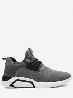 Lace Up Elastic Band Suede Athletic Shoes - Gray 42