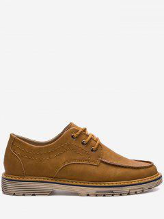 Stitching Low Heel Casual Shoes - Brown 43
