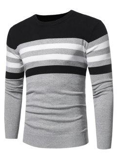 Crew Neck Color Block Stripe Panel Knitted Sweater - Light Gray 3xl