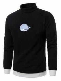 Turtle Neck Cartoon Cetacean Print Fleece Pullover Sweatshirt - Black Xl