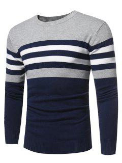 Crew Neck Color Block Stripe Panel Knitted Sweater - Deep Blue 2xl