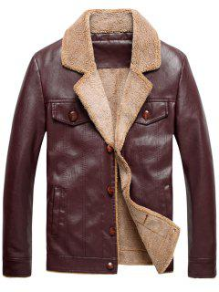 Fleece Single Breasted PU Leather Jacket - Wine Red L