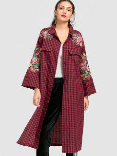 Floral Embroidered Long Checked Shirt - Red L