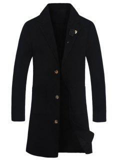 Slot Pocket Rose Embellishment Wool Blend Coat - Black 2xl