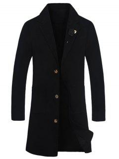 Slot Pocket Rose Embellishment Wool Blend Coat - Black Xl