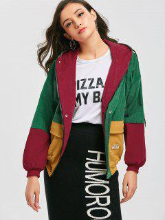Hooded Color Block Corduroy Jacket - Green M
