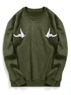 Crane Embroidered Suede Sweatshirt - Army Green M