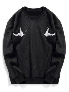 Crane Embroidered Suede Sweatshirt - Black L