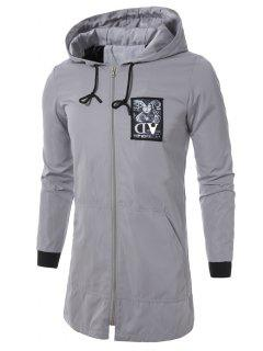 Hooded Drawstring Applique Zip Up Long Coat - Gray Xl