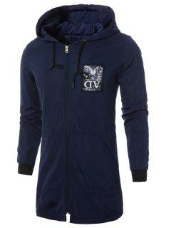 Hooded Drawstring Applique Zip Up Long Coat - Cadetblue Xl