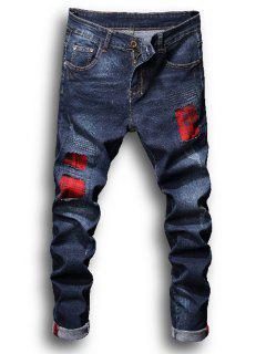 Zipper Fly Tartan Patch Pleat Blanqueado Pantalones Vaqueros Rasgados - Denim Blue 34