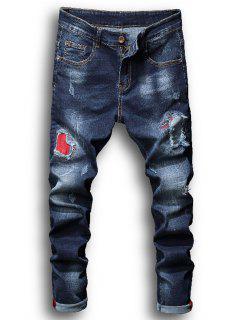 Zipper Fly Patch Bleached Effekt Zerrissene Jeans - Denim Blau 36