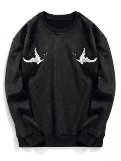 Crane Embroidered Suede Sweatshirt - Black S