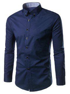 Slim Fit Button Down Casual Shirt - Purplish Blue L