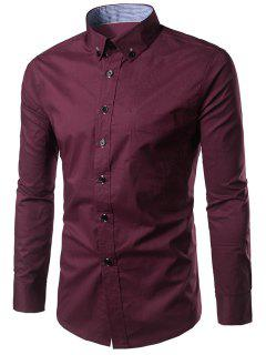 Slim Fit Button Down Casual Shirt - Wine Red M