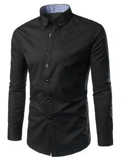 Slim Fit Button Down Casual Shirt - Black M