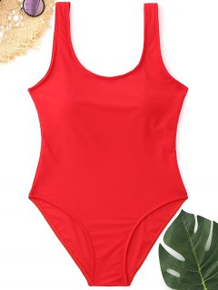 Padded Low Back High Cut Swimwear - Red M