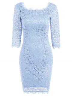 Cut Out Lace Bodycon Party Dress - Pantone Turquoise S