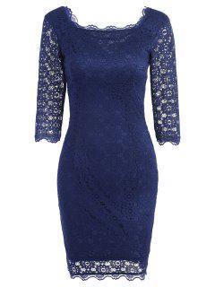 Robe De Soirée Moulante Avec Découpes En Dentelle  - Bleu Violet S