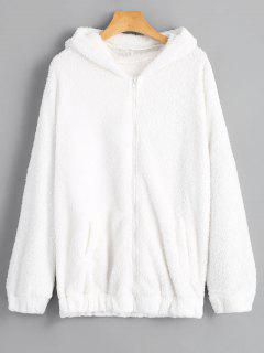 Bear Hooded Furry Coat - White