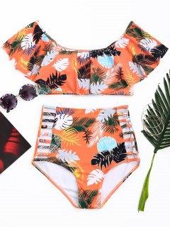 Schulterfrei - Palm Leaf - Hoch Taillierter Bikini - Blumen Xl