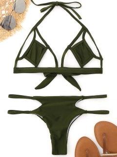 Bralette Cut Out Bikini - Army Green M