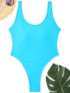High Cut Backless Thong Swimwear - Lake Blue L