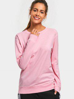 Casual Plain Sweatshirt - Pink S