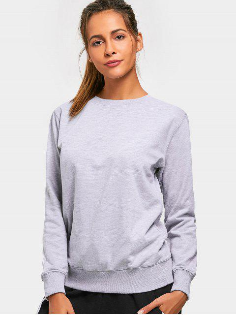 shop Casual Crew Neck Sweatshirt - GRAY L Mobile