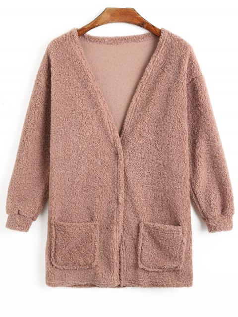 shop Two Button Fuzzy Coat - PALE PINKISH GREY L Mobile