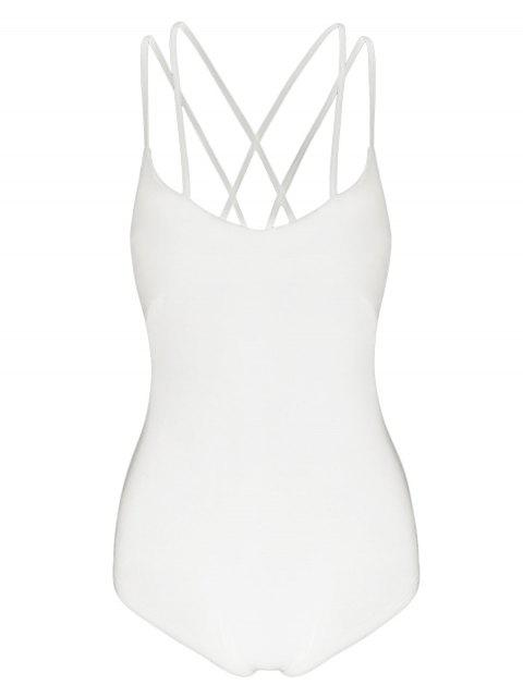 hot Strappy Criss Cross Jersey Bodysuit - OFF-WHITE L Mobile