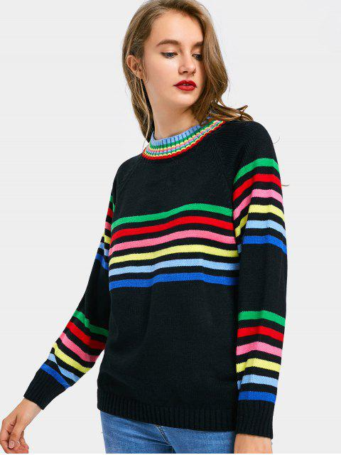 ladies Raglan Sleeve Striped Sweater - BLACK ONE SIZE Mobile