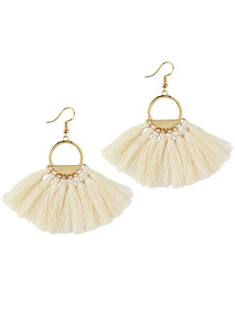 hot Fan Tassel Embellished Hollow Out Drop Earrings - WHITE  Mobile