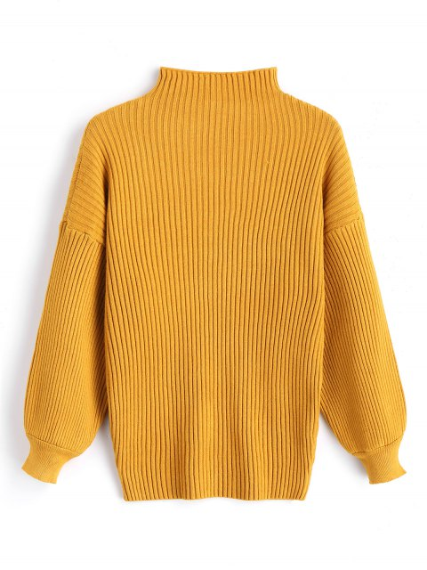 new Pullover Lantern Sleeve High Neck Sweater - MUSTARD ONE SIZE Mobile