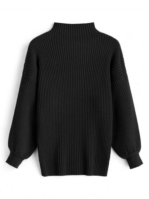 hot Pullover Lantern Sleeve High Neck Sweater - BLACK ONE SIZE Mobile