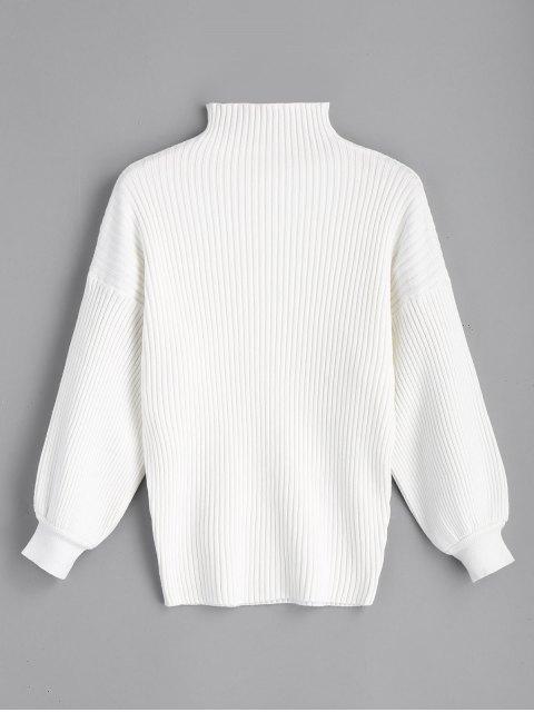 Pullover mit hohem Kragen und Lantern-Ärmel - Weiß Eine Größe Mobile