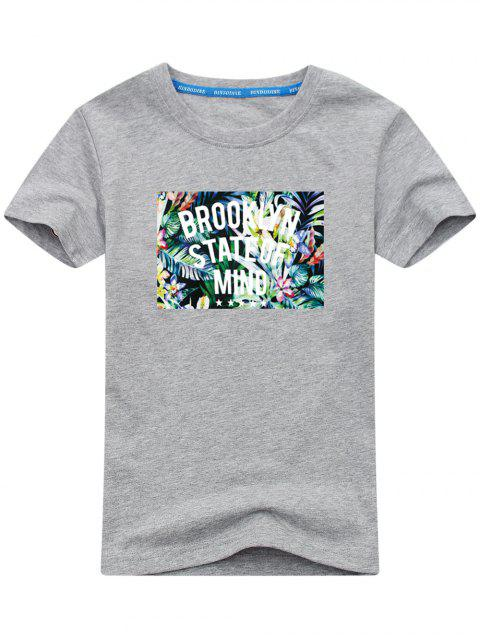 Camiseta con estampado tropical de manga corta - Gris XL Mobile