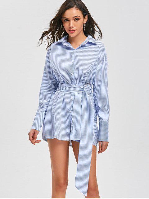 chic Belted Button Up Long Stripes Shirt - STRIPE L Mobile