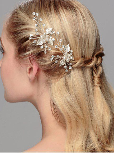 affordable Rhinestone Faux Pearl Leaf Wedding Hairpin - SILVER  Mobile