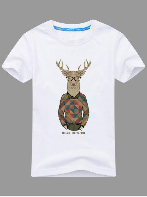 T-shirt Imprimé Wapiti Cartoon - Blanc 3XL Mobile