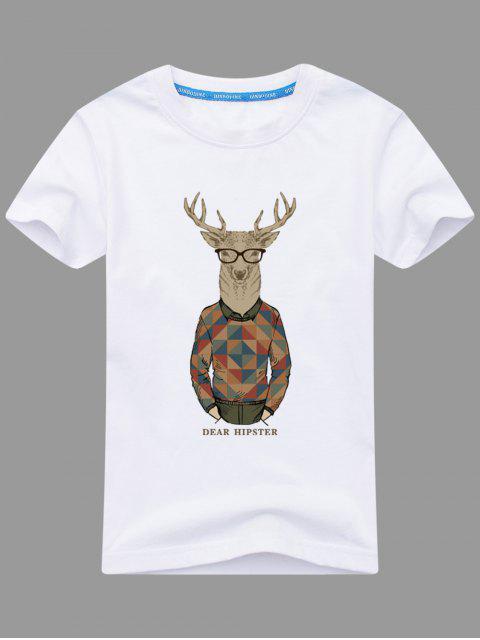 T-shirt Imprimé Wapiti Cartoon - Blanc 2XL Mobile