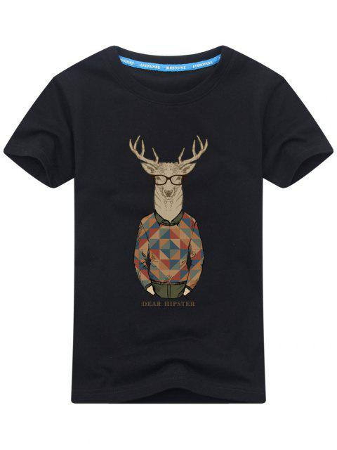 Kurzarm Cartoon Print T-Shirt - Schwarz XL  Mobile